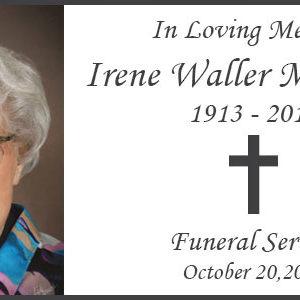 Celebration of Life service for Irene Waller McFerron