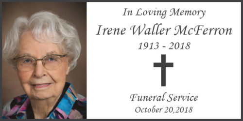 Celebration of Life service for Irene Waller McFerron